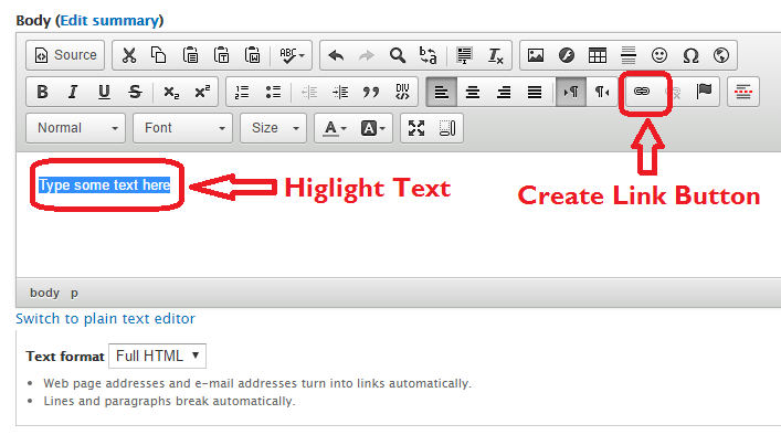 Image describing how to highlight text and find the link button